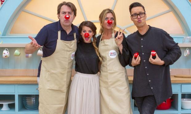 Jonathan Ross, Zoella, Abbey Clancy and Gok Wan in The Great Comic Relief Bake Off