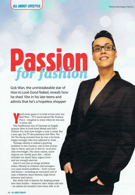 Gok Wan interview in All About Health - page 1
