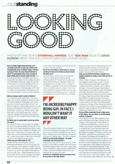 Gok Wan interview in Out London - page 1